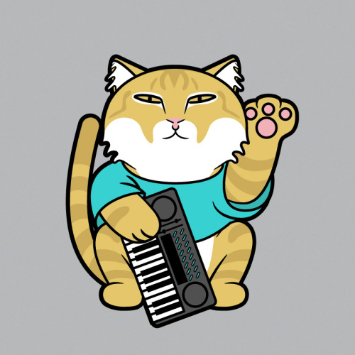 luckycatproject:  Maneki Miyüjikaru Keyboard Cat - Part of my LOLcat series Shirts | Kid Sizes | Stickers | CasesArtist's Tumblr  Give my Lucky Cat Project blog a follow. I'm attempting a new Lucky Cat post every weekday (and my queue is almost empty… gulp)