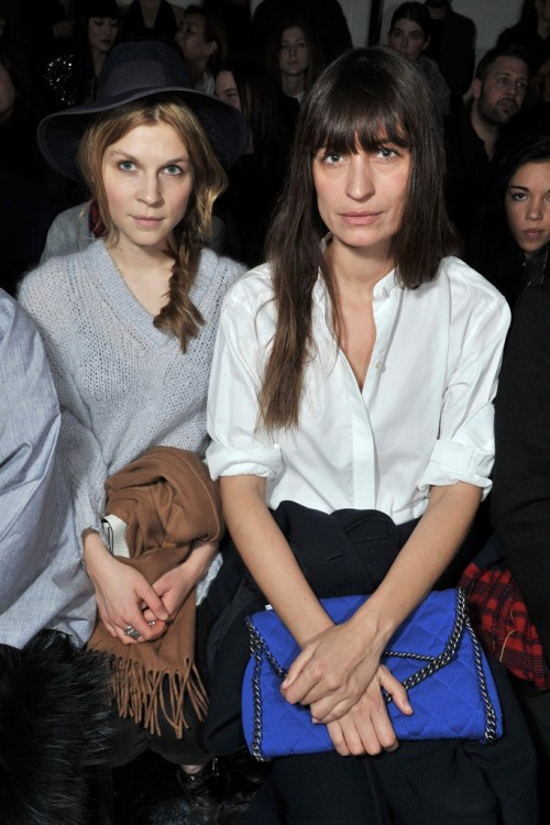 Clémence Poésy and Caroline de Maigret at the Acne Fall/inter 2013 RTW fashion show during Paris Fashion Week.