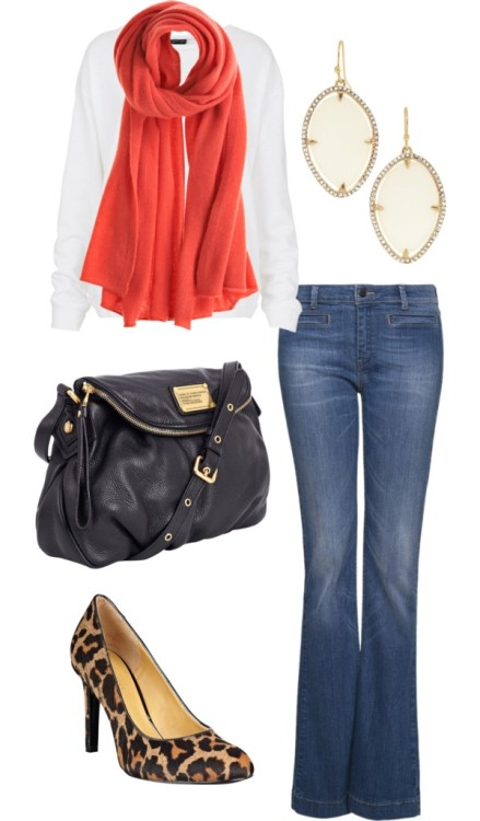 Casual Wear by friedspices  Topshop Mango high waisted jeans, $16  Nine West high heels  Marc by Marc Jacobs leather shoulder bag, $485  Stella & Dot feather earrings  Calypso St. Barth