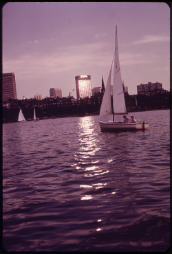 Member of the Charles River Basin Community Sailing Club Enjoy an Evening Sail. for a Dollar a Year, Youngsters Up to Age 17 Can Join the Club and Learn to Handle a Boat 08/1973 by The U.S. National Archives on Flickr.