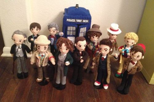 doctorwho:  The 'Doctor Who' Knitting Circle: Part 2 | Anglophenia  Oh America you dark horse you! Fancy keeping something this delightful hidden for so long! Welcome, to anyone unfamiliar with her work, to the astonishingly nimble fingers of Austin, Texas's crochet marvel, Allison Hoffman, who trades under the name Crafty Is Cool. Now Allison is not the first person to crochet or knit the cast of Doctor Who (remember the Doctor Who knitting circle part 1?), but she's done such a bang-up job, it's hard not to descend into outright dribbling worship….  See more pics over at BBC America  Wish I could crochet like this!
