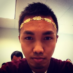 Got in trouble in class today because I borrowed my classmates hairband to take a pic because I wanted to be like king Ceasar. My iPad made a shutter sound and my teacher singled me out any told me it had to go xD