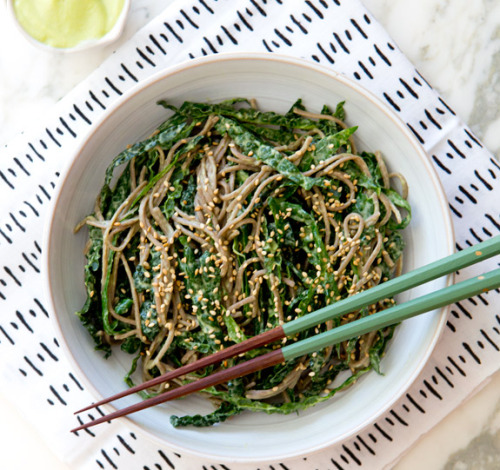 Chilled kale noodle bowl with avocado miso dressing (via). I know, right?