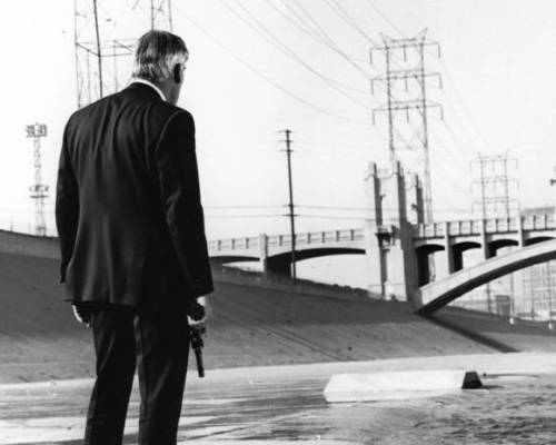 Lee Marvin in POINT BLANK. 4th Street Bridge in the background. Shamelessly stolen from: http://www.latimes.com/entertainment/movies/moviesnow/la-et-mn-lee-marvin-20130130,0,6481171.story Via Ian Brill.