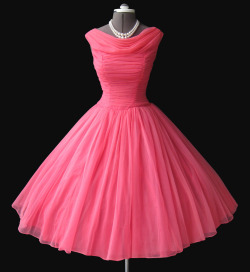 1950's Pink Chiffon Prom dress (by my_vintage_studio)