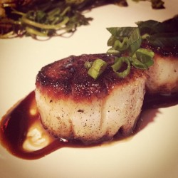 At Six in Phoebus enjoying the seared sea scallops with hoisin glaze and wilted watercress. #instagramhub #hrva #phoebus #food #tapas