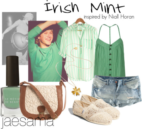 loves2berandom:  Irish Mint by jaesama featuring a clover necklace ❤ liked on PolyvoreSheer blouse / T-Bags Los Angeles sleeveless shirt / H&M short shorts, $12 / TOMS flat shoes / Cross shoulder bag / Alex Monroe clover necklace, $235 / Le Métier de Beauté matte nail polish