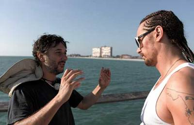Harmony Korine with James Franco on the set of Spring Breakers.