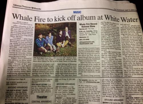 Before You Run album release show tonight at White Water Tavern in Little Rock- thanks Arkansas Democrat Gazette!