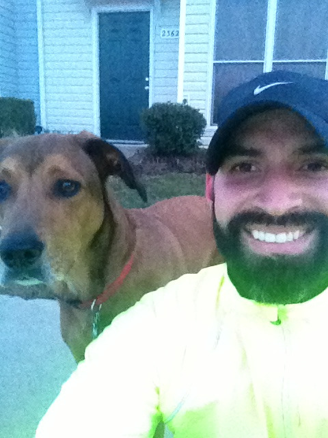 3 miles with Milo this afternoon. I love the fact that I don't have to rush after work to catch those last few rays of sunlight before it gets dark.   I am also glad I wore my running jacket because it is wind proof. And it was really windy and cold out there today: 35F with a wind chill of 25F. Totally should have worn compression tights instead of shorts. My legs were a little numb.