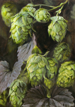 An oil painting of hops