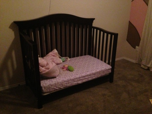 I had to convert the crib to a toddler bed yesterday after Hannah climbed out of her crib for the second time only to fall on her back three seconds before I could have caught her. I cleared everything out of the room. We'll see how nap time goes today.