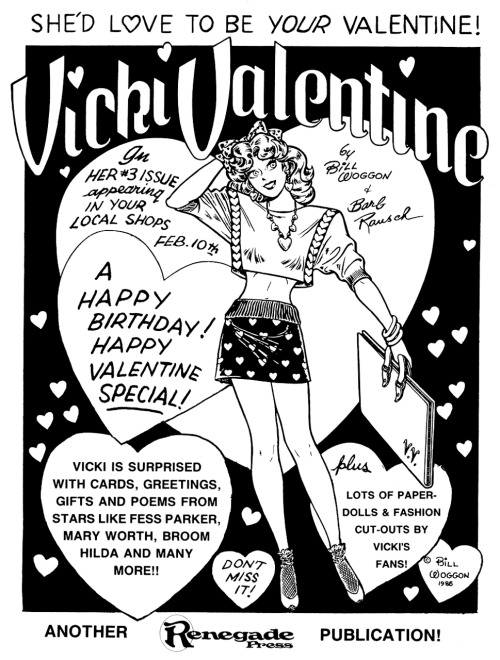 Promotional ad for Vicki Valentine #3 by Bill Woggon and Barb Rausch, 1986.Happy Valentine's Day!