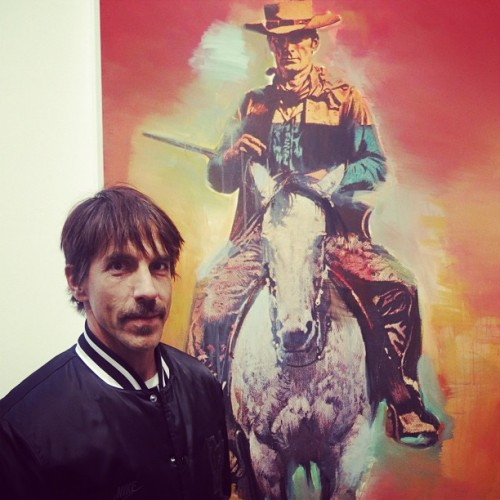 Anthony Kiedis posing in front of Richard Prince's Cowboy Painting at the Gagosian Gallery in Beverly Hills on February 21st, 2013.