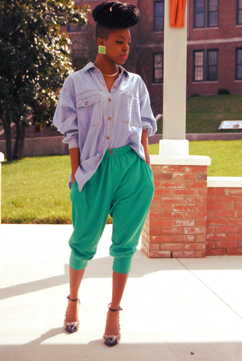 Jean Shirt, Green Harem Pants, Spiked Cap Toe Heels Top and Bottom thrifted, Shoes from Karmaloop Taylor, 19, NC instagram: @taylormcfly blog: http://theskinnyfashionista.blogspot.com