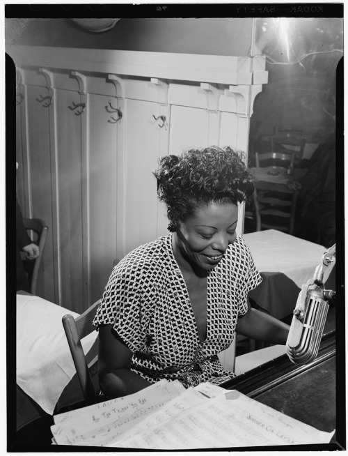 Legendary jazz pianist, composer, and arranger Mary Lou Williams, born May 8, 1910 – a remarkable woman in a then-man's world – in William Gottlieb's portraits of jazz icons.