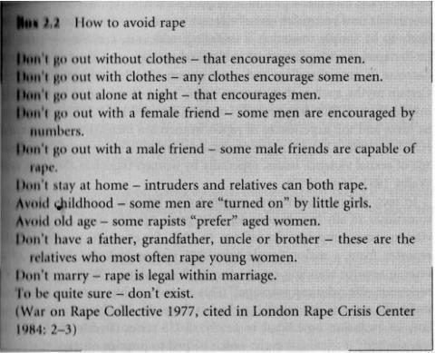 patientrecords:  bellegoddessdivine:  How to avoid rape… sounds about right, even though it was written almost 40 years ago.  Never not reblog