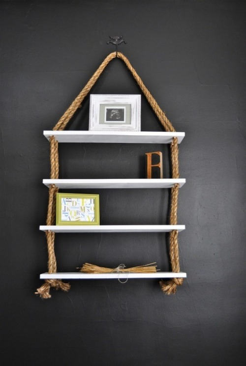 dreamalittlebiggerblog:  Make hanging rope shelves easy peasy with DIY from ReCreate.