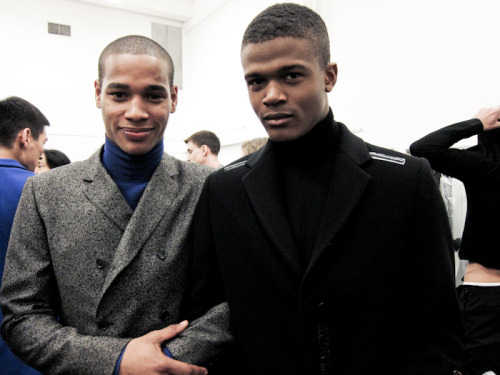 Witness the cuteness - Sacha M'baye & O'shea Robertson backstage at Calvin Klein FW 2011/2012