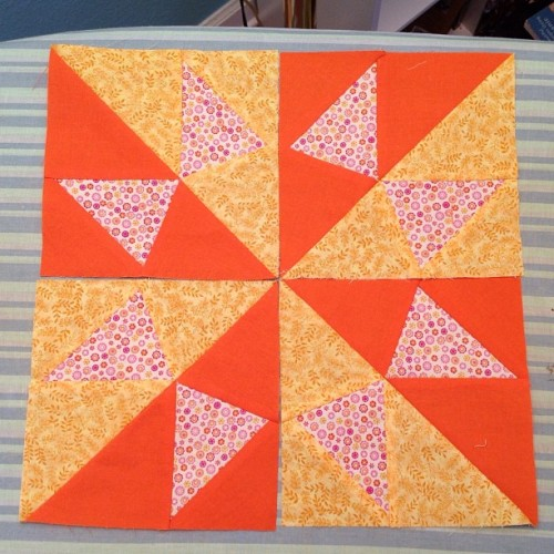 The four blocks aren't yet sewn together, but this block is taking shape!!!