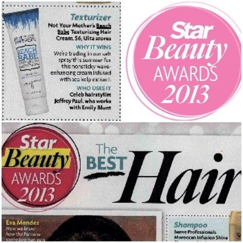 Not Your Mother's Beach Babe texturizing hair cream won the Star Magazine Beauty Awards!!!  #hair #beauty #winner #award #magazine #celebrity #stylist #texturizer #beautyproduct #star