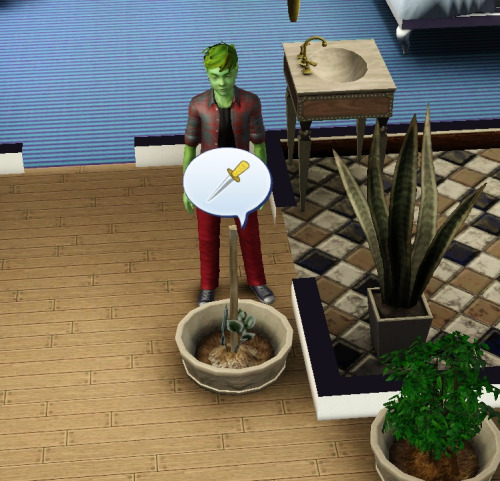 This plant is threatening to knife my sim