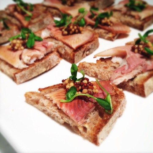 Inspiration from @JasonFrench — smoked trout, bread, mustard seed, pea shoots.