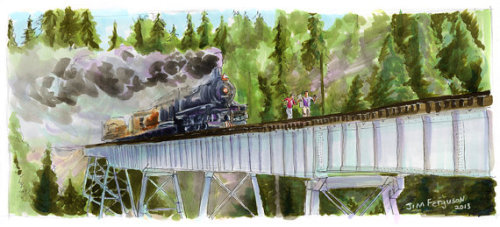 """Stand By Me - Hey Atleast Now We Know When the Next Train was Due 5""""x11"""" Poster Print. Print of original ink and Copic marker drawing. By Jim Ferguson"""