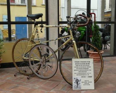 bikeridersnyc:   Bike used by Jean Claude Rude in his pursuit of the world bicycle speed record