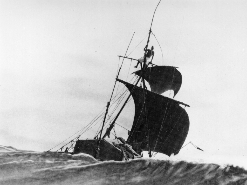 burnedshoes:  Unknown photographer / Getty Images, 1947, Kon Tiki The Kon Tiki was named after a legendary seafaring sun-king common to both the old Inca kingdom and the islands of Polynesia. In this photograph, a lone figure, possibly Thor Heyerdahl, perches on the mast of the Kon Tiki. He sailed the balsa wood raft with five fellow adventurers from Peru to Polynesia in 1947, in an attempt to prove that prehistoric South American seafarers could have made the same journey.