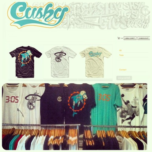 The stores are restocked..Check out www.cushy.bigcartel.com or come thru the shop to pick up some new threads.