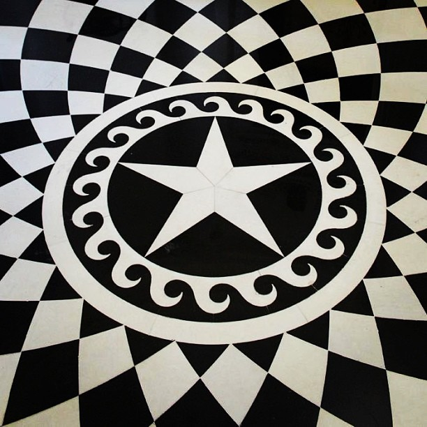 Hand cut Italian marble floor inside Atlanta's historic Swan House.