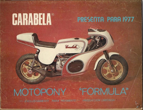 "Carabela MotoPony Formula on Flickr.Via Flickr: Like go-karts, the first minibikes were made by enthusiasts from spare parts found in their garages. They were first popularly used as ""pit bikes"", for drag racers to travel in the pits during races in the late 1950s.hirebuysell.co.nz/"