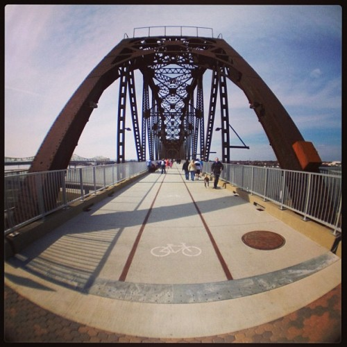 Fisheye of the Big 4 Bridge in Louisville Ky. #Big4Bridge #Louisville (at Big Four Bridge)
