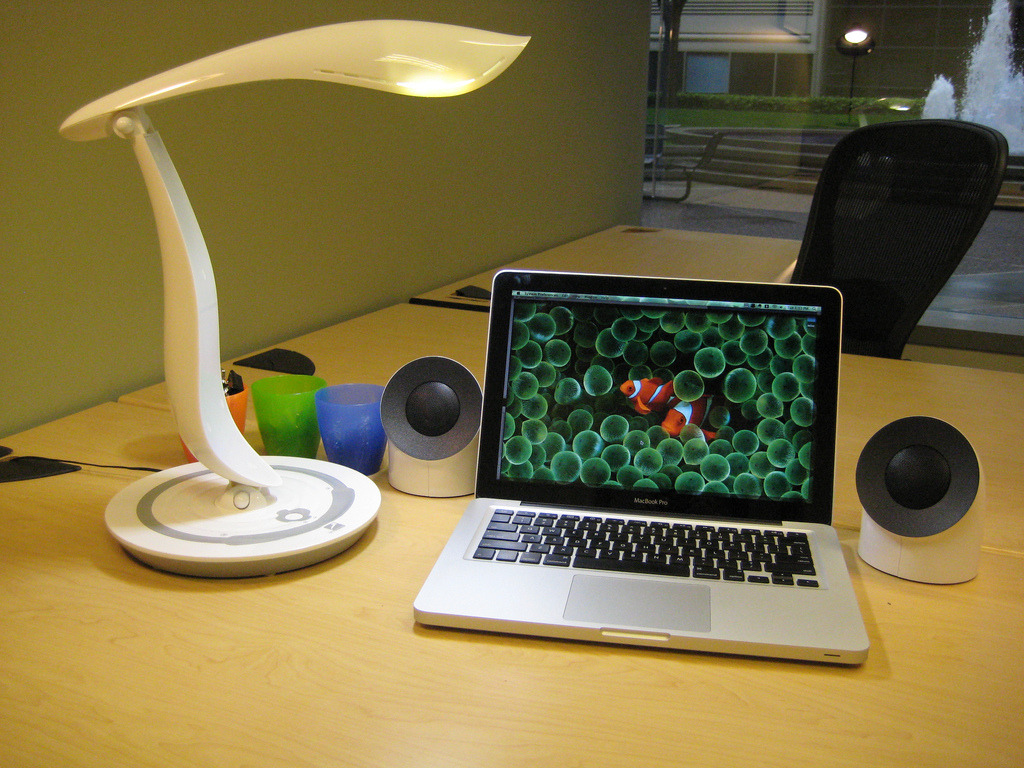 Apple Macbook Pro, Lacie Neil Poulton Speakers, IMG Lighting Desk Lamp (via imglighting)