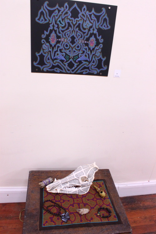 I was in the Innvocations show in dundee. about invoking magic and states of otherness. I had the drawing Aya Teacher Omnipotent Endurer there alongside some of my power objects acquired on asian travels and scottish experiences.