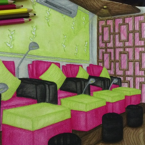 Nail & spa salon in watercolor pencils. Kunyari maganda. 😹