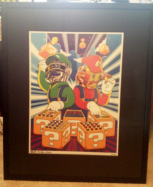 Photo of a framed Super Punk Bros Large Print Limited Edition by Marci Lall. I appreciate the support. Thank you.