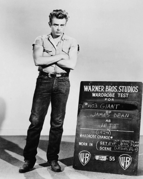 behindtheillusions:  James Dean's wardrobe test for Giant (1956).