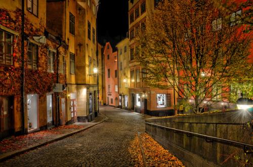 autumn fall night sweden cobblestone