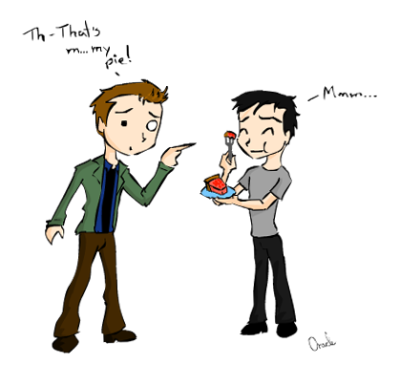 Dean Winchester and Kevin Tran. Kevin took Dean's pie… again. D: