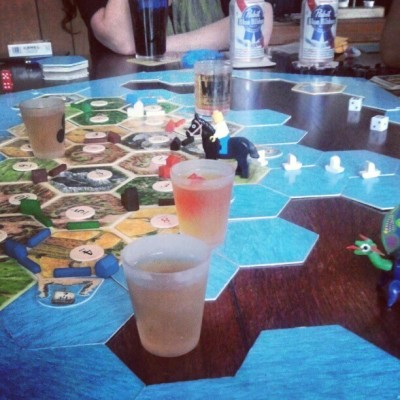 Soooooo….. Birthday Catan includes Jameson in the potential settlement spots #Jameson #birthday #pbr #catan #games