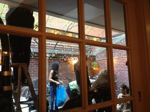 "ladyxgaga:  A photo of Gaga helping out at her father's restaurant in New York City. According to a fan, Gaga was there helping her parents serve food and set things up.  My mother, aunt, & I went for brunch at Joanne's. After all the times joking around like ""Imagine if Gaga comes in"" it actually happened… She came in wearing that outfit from the street pic in NYC today. It's much cuter in person. That was just an awful shot. She was walking around the place like just a regular person. It wasn't crowded at all. I said hi to her & she said hi to us as she walked by. She was helping out bringing in all flowers and stuff into the place. She actually brought me my meal. Yes, LADY GAGA SERVED ME MY FOOD! ejhsfhoeuhfsodfhsofh It was insanity. My family and I were freaking out lmfao. I told her we've missed her. My mother said she felt like she was dreaming… Gaga was like ""well it's my family's place, I like to help out"""