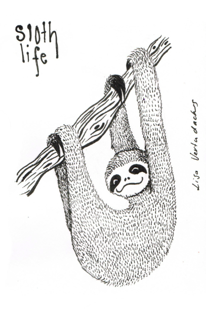lisa-vertudaches:  Drawing 134 - 14/05/13Sloth Life. Facebook | Website