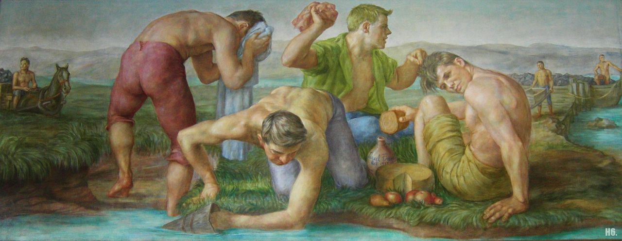 hadrian6:  Lunch with early miners. 18-938. Jared French. American. 1905-1988. http://hadrian6.tumblr.com