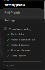 Eyeem - Shows you in a dropdown what's enabled for Facebook Timeline sharing