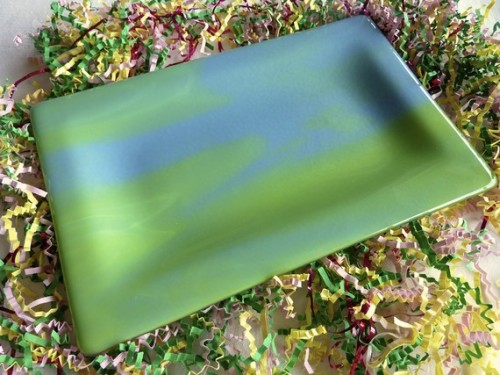 Fused Glass Platter in Colors of Monet Blue and Green