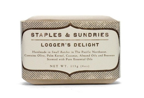 themodernexchange:  Staples & Sundries Logger's Delight Soap | FREE / MAN  Nice and Simple product label.