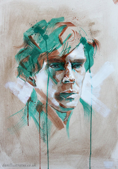 "eatsleepdraw:  ""Sherlock"" Painted with coffee, graphite, charcoal, watercolour and acrylic. www.facebook.com/danillustrateswww.twitter.com/danillustrates"