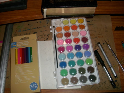 hurricanekatrinaa:  Got some new watercolor paints and pencils, and a new inking pen. (: